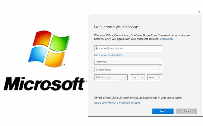 Create New Microsoft Account